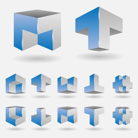 illustration of a set of 3d logo elements