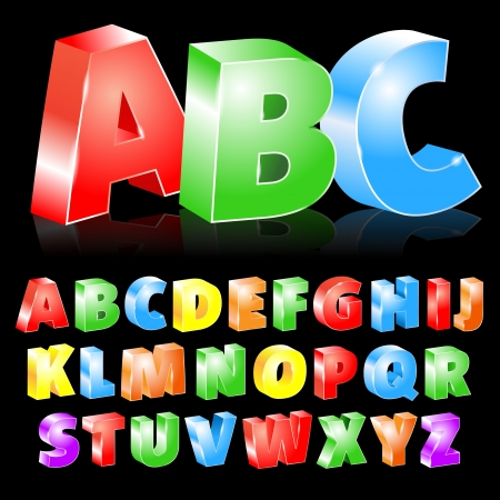 illustration of colorful boxed letters Vector