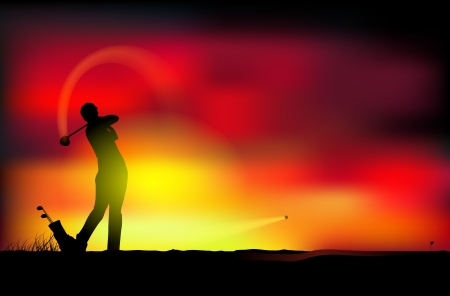 illustration of a man playing golf Vector