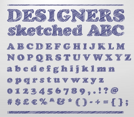 sketched:  illustration of a sketched alphabet numbers and symbols doodles
