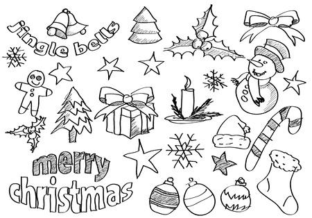 sketched icons: Resumen esbozado iconos y s�mbolos de la Navidad