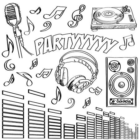 Geschetst deejay symbolen Vector Illustratie