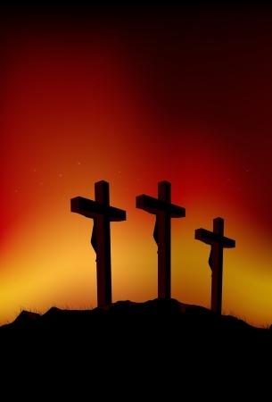 cruz de madera: Ilustraci�n abstracta de 3 cifras en cruces Vectores