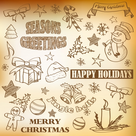 Abstract sketched vintage christmas icons and symbols Vector