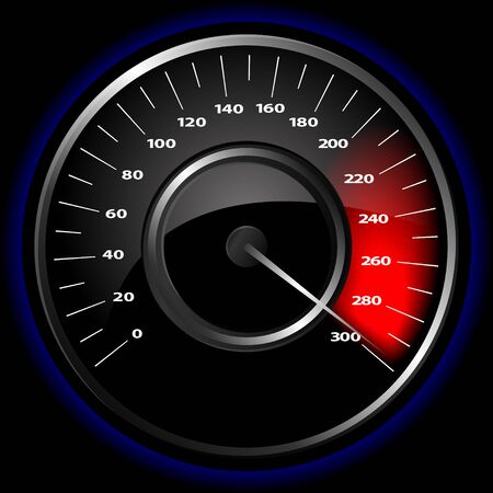 high speed: illustration of a speedometer over a black background Illustration
