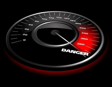 illustration of a speedometer over a black background Illustration