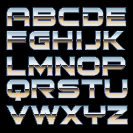typeface: characterset of a metal style font Illustration