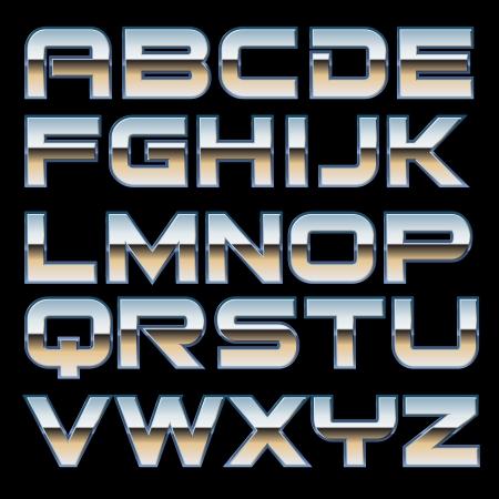 chrome letters: juego de caracteres de una fuente del estilo del metal
