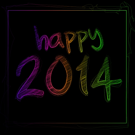 Illustration Of Happy 2014 Text On A Blackboard Vector