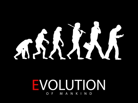 illustration of evolution from monkey to social media addict