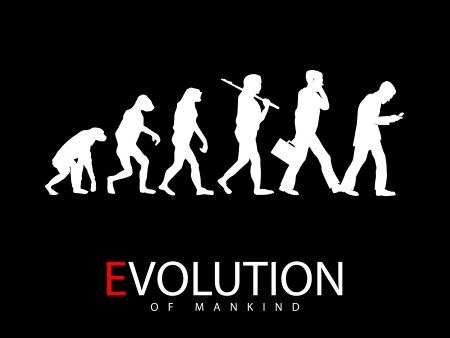 ilustración de la evolución del mono al adicto a los medios de comunicación social, Ilustración de vector