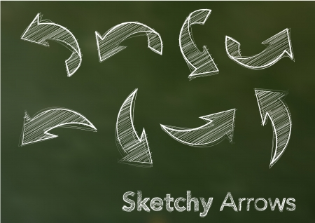 directional arrow: Abstract Vector Illustration Of White Sketchy Arrows On A Green Blackboard Illustration