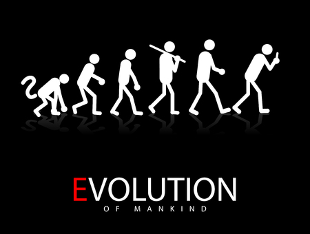 Abstract  illustration of the evolution theory to smartphone addicts Vector