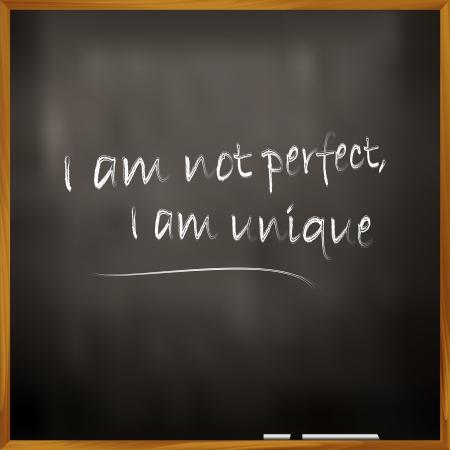 illustratie van een offerte Ik ben niet perfect, ik ben uniek Vector Illustratie