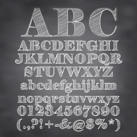 alfabeto graffiti: illustrazione di gesso abbozzato caratteri su uno sfondo lavagna Vettoriali