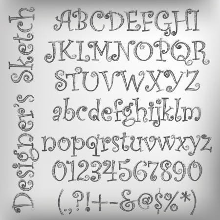 Abstract illustration of a pencil sketched alphabet Vector