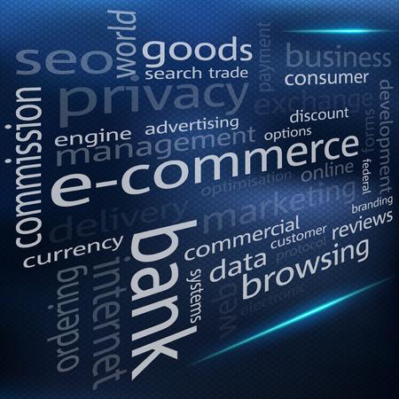 abstract illustration: Premessa l'illustrazione di una nube di e-commerce