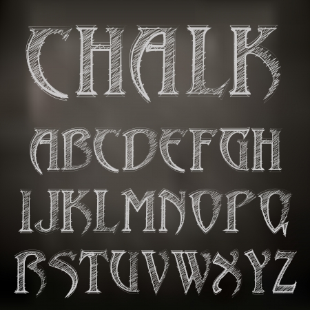 chalky: Vector sketched chalky alphabet on blackboard Illustration