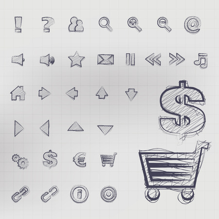 sketched icons: Abstract vector, illustration of sketched business icons in blue ink Illustration