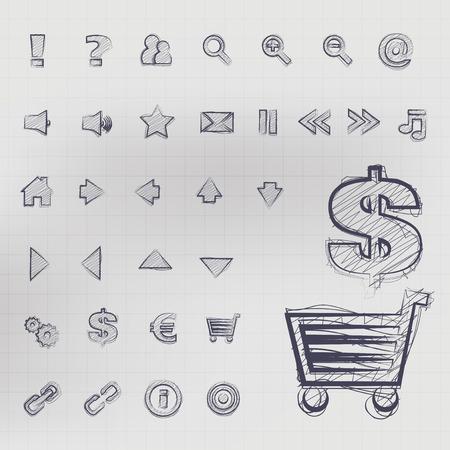 sketched icons: Abstract vector, ilustraci�n de iconos de negocios boceto en tinta azul