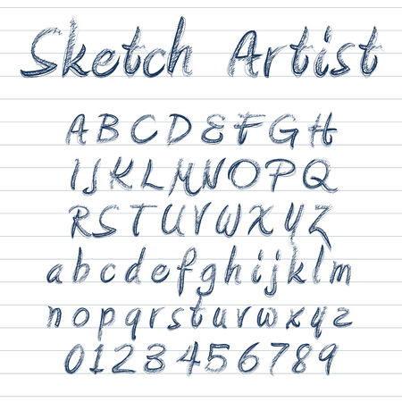 sketched: Vector designer sketched alphabet in blue ink on lined background Illustration