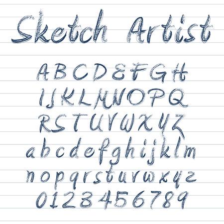 Vector designer sketched alphabet in blue ink on lined background Illustration