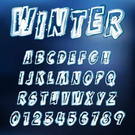 ice alphabet: Abstract Vector Illustration Of An Icy Alphabet
