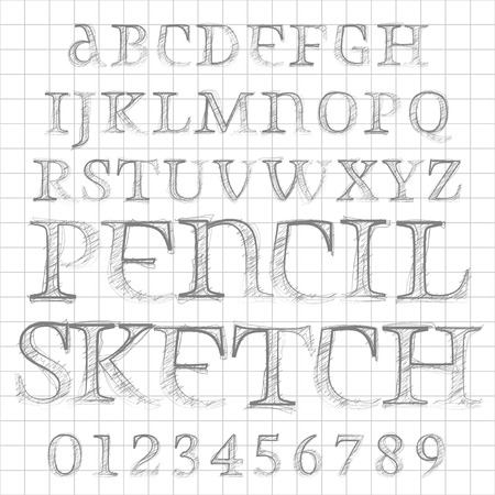 characterset: Abstract vector illustration of a pencil sketched font