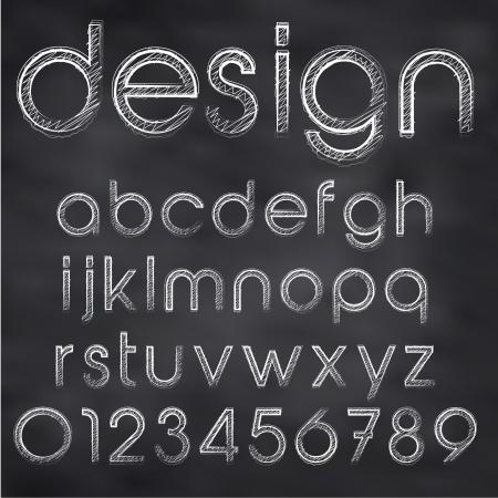 Abstract vector illustratie van krijt geschetst lettertype op blackboard Vector Illustratie