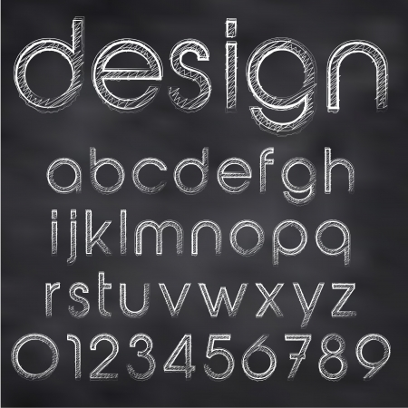 Abstract vector illustration of chalk sketched font on blackboard Vector