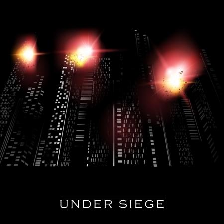 Abstract vector illustration of a city under attack Illustration