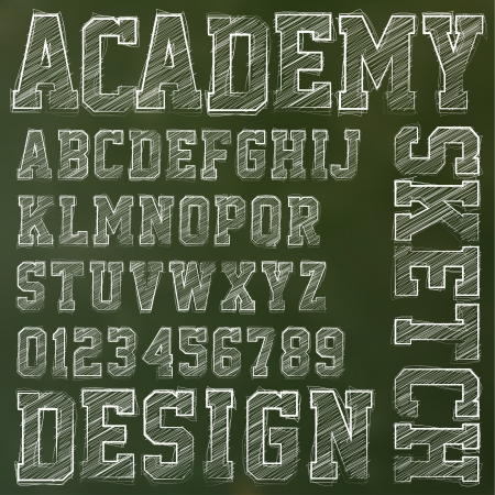 characterset: Vector sketched alphabet on a blackboard