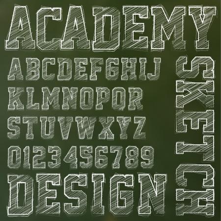 college: Vector sketched alphabet on a blackboard