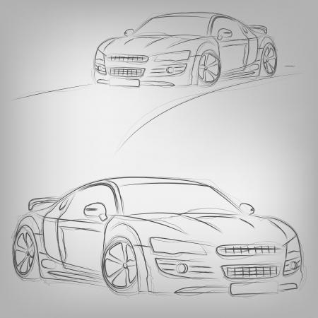 prototipo: Resumen ilustración vectorial de un coche dibujado en tono blanco Vectores