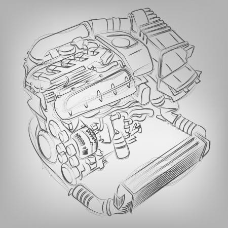Resumen ilustraci�n vectorial de un motor de boceto