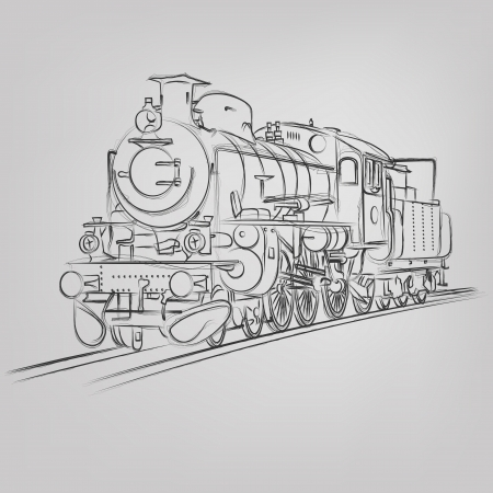 steam locomotive: Abstract vector illustration of an old locomotive sketch