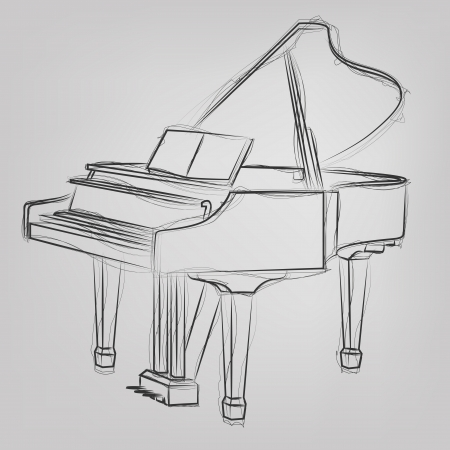 composing: Abstract vector illustration of a grand piano sketch Illustration