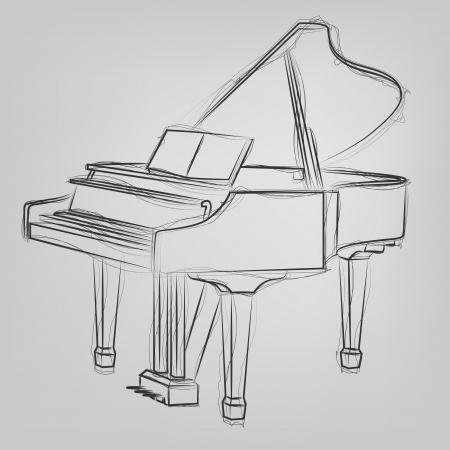 Resumen ilustración vectorial de un dibujo de piano de cola