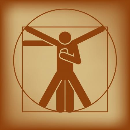 uomo vitruviano: Abstract illustrazione vettoriale di uomo vitruviano controllo smartphone Vettoriali