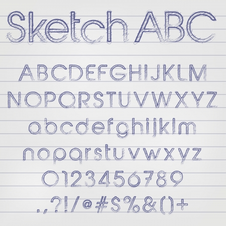 characterset: Abstract vector illustration of a sketched alphabet in blue ink