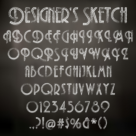 Vector illustration of chalk sketched characters on a blackboard background