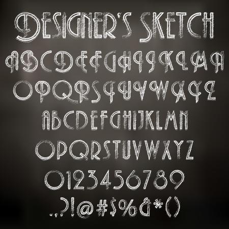 Vektor-Illustration der Kreide skizziert Zeichen auf einer Tafel Hintergrund Standard-Bild - 24199448