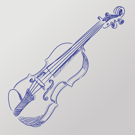 Abstract vector illustration of a sketched violin Stock Illustratie