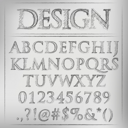 characterset: Abstract vector illustration of a pencil sketched alphabet Illustration