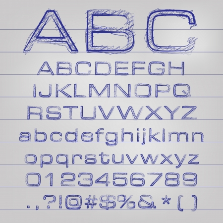 characterset: Abstract vector illustration of a sketched alphabet
