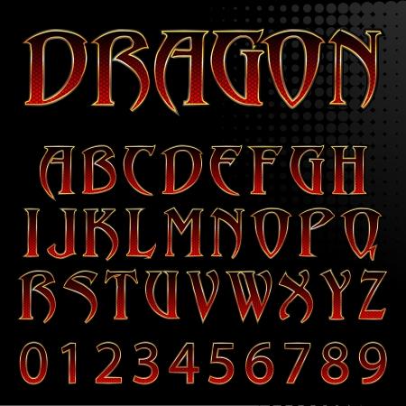 Abstract illustrazione vettoriale di un drago Font Style Archivio Fotografico - 24201466