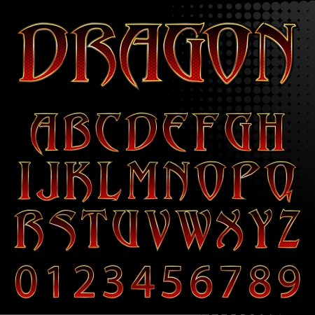 characterset: Abstract Vector Illustration Of A Dragon Style Font
