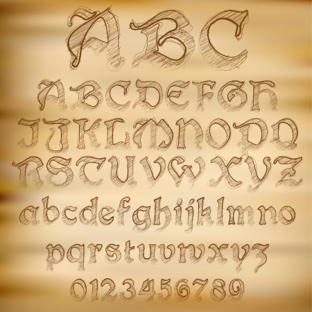 Abstract vector illustration of an old sketched alphabet Vector