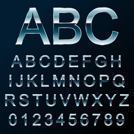 characterset: Vector illustration of a metal like font