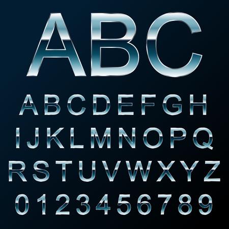 Vector illustration of a metal like font